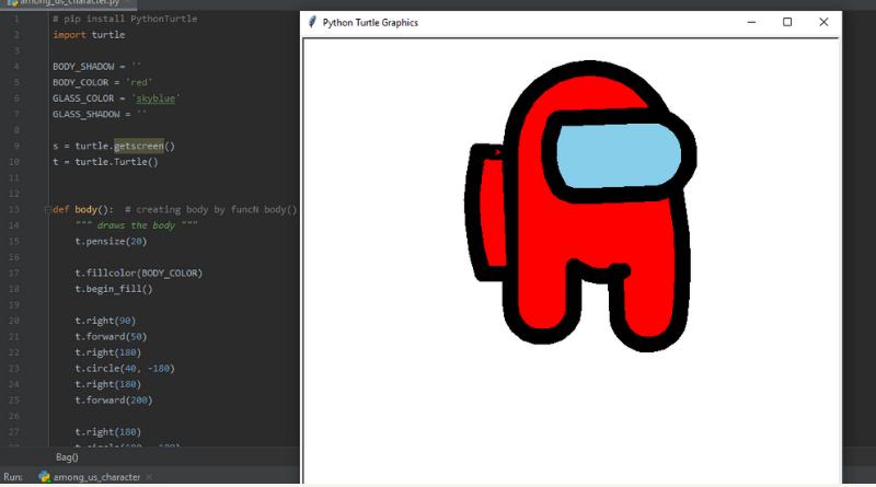 Creating Among Us Avatar Using Python Turtle - Python Project
